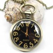 Mini montre gousset moderne fond noir