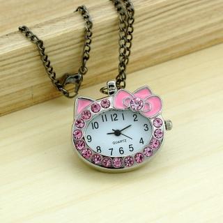 "Montre collier ""Hello Kitty"" fond blanc"