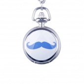 Mini montre gousset moustache bleue