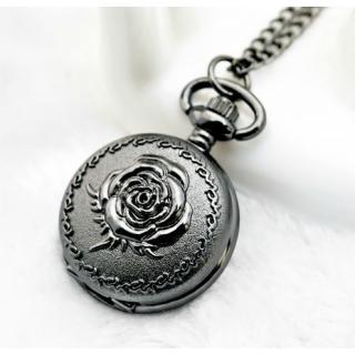 Mini montre gousset noire rose