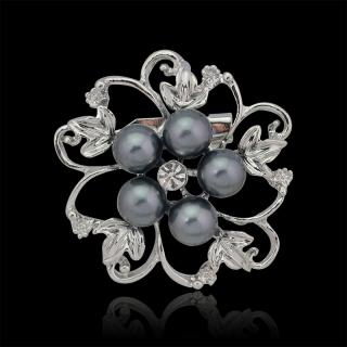 "Broche ""Crawford"" argentée perles noires"