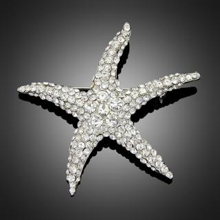 Broche starfish argentée