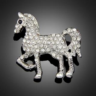 Broche cheval argentée