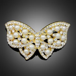 Broche papillon dorée