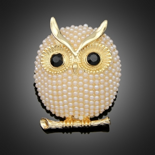 Broche cute owl dorée