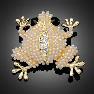 Broche cute frog dorée