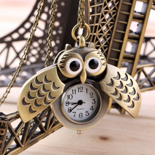 Montre collier hibou bronze