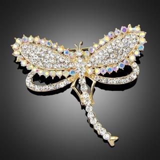 Broche dragonfly dorée