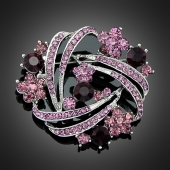 Broche paon rose
