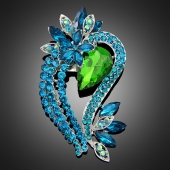 "Broche ""Perséphone"" verte turquoise"