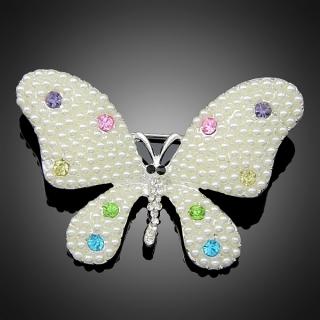 Broche rainbow butterfly argentée