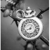 Mini montre clapet argent frise feuillage