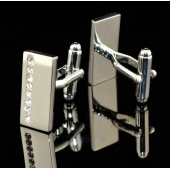 "Boutons de manchette rectangle argent 8 pierres ""Santa Monica"""