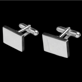 "Boutons de manchette rectangle argent ""Newport Beach"""