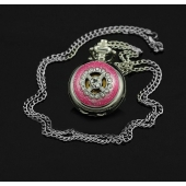 Mini montre collier argent strass rose