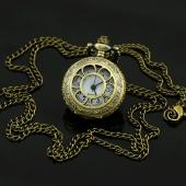 Mini montre gousset clapet fleur bronze