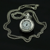 Mini montre gousset clapet fleur argent