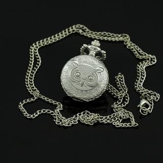 Mini montre gousset argent hibou